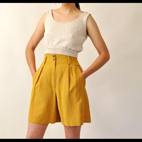 Vintage Pants - VTG BLUE high waisted shorts sz 5/6
